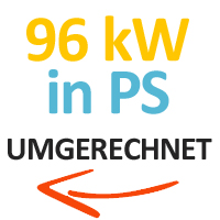 96 kW in PS umgerechnet